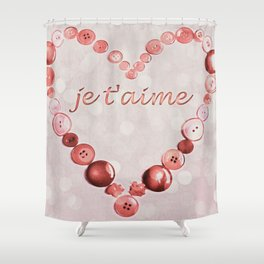 JE T'AIME - I LOVE YOU - VALENTINE - PINK AND PALE RED HEART Shower Curtain