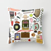 royal tenenbaums Throw Pillows featuring The Royal Tenenbaums by Shanti Draws