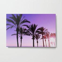 Purple Californian Vibes Palm tree beach photography Metal Print