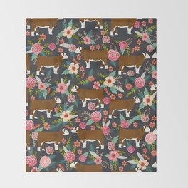 Hereford Cattle breed floral farm homestead gifts cow art florals Throw Blanket