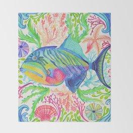 Parrot Fish & Ocean Creatures Throw Blanket