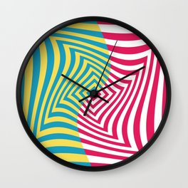 Colorful distorted Optical illusion art Wall Clock