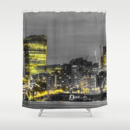 London in Monochrome and Yellow Shower Curtain