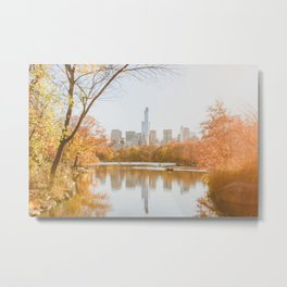 Fall in NYC on the Pond Metal Print