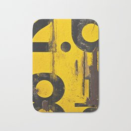 black numbers on yellow background Bath Mat