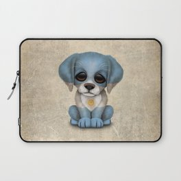 Cute Puppy Dog with flag of Argentina Laptop Sleeve