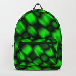 Drops in a green diagonal along the surface of the water on a metal film.  Backpack