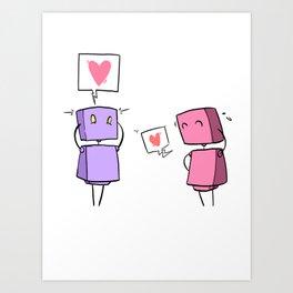 Cutebots: the luvbot couple Art Print