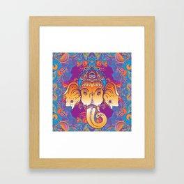 Hindu Lord Ganesha over ornate colorful mandala.  Framed Art Print