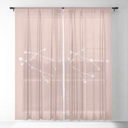 Gemini Zodiac Constellation - Pink Rose Sheer Curtain