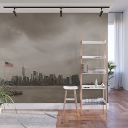 Manhattan skyline and American flag Wall Mural