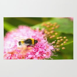 Busy Bee Bzzzzzzz On A Pink Flower #decor #society6 Rug
