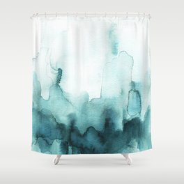 Soft teal abstract watercolor Shower Curtain