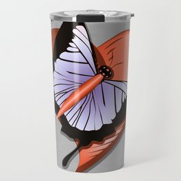 Beautiful butterfly and heart on polished metal textured background Travel Mug