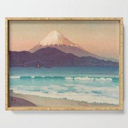 Fujiyama from Miho 1935 Vintage Beautiful Japanese Woodblock Print Hiroshi Yoshida Serving Tray