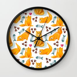 Cute orange cats with fish and hearts pattern Wall Clock