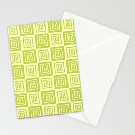 Mid Century Modern Geometric Checker 821 Chartreuse Stationery Cards