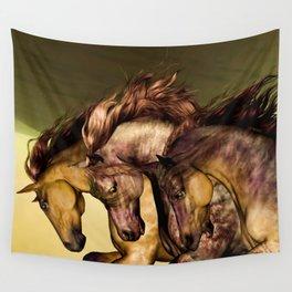 HORSES-Gunmetal Wall Tapestry