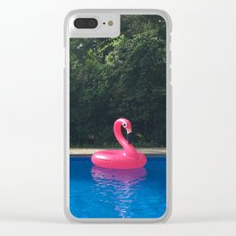 Flamingo in Pool Clear iPhone Case