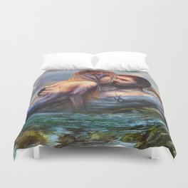Take my breath away - Mermaid in love with soldier on the beach Duvet Cover