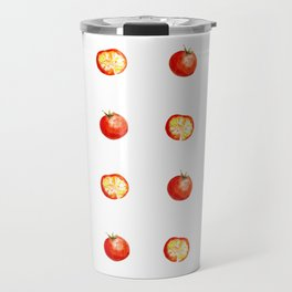 watercolor cut red tomatoes with slices pattern Travel Mug