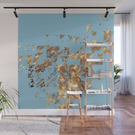 Bronze on Aqua Square #abstract #society6 #decor #geometry #minimalism Wall Mural
