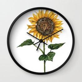 Watercolor Sunflower, Feng Shui, Attract Money, Watercolours Wall Clock