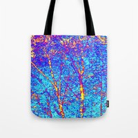 birch Tote Bags featuring Birch by Tru Images Photo Art