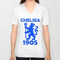 chelsea V-neck T-shirts featuring Chelsea 1905 by Sport_Designs