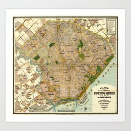 Vintage Map of Buenos Aires Argentina (1921) Art Print