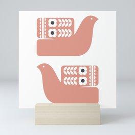 Pink birds // Folk art birds // Scandinavian birds Mini Art Print