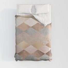 Copper and Blush Rose Gold Marble Argyle Comforters