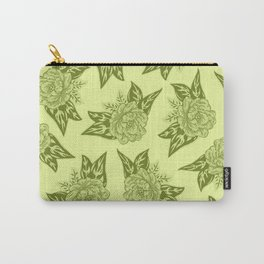 Cabbage Roses in Chartreuse Carry-All Pouch