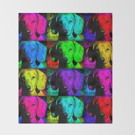 Colorful Pop Art Dachshund Doxie Face Closeup Tiled Image Throw Blanket