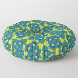Simple geometric boat helm in blue and yellow Floor Pillow
