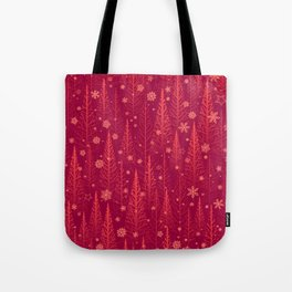 Christmas pine trees illustration pattern with red stylised. Vintage Christmas trees and snowflakes. Tote Bag