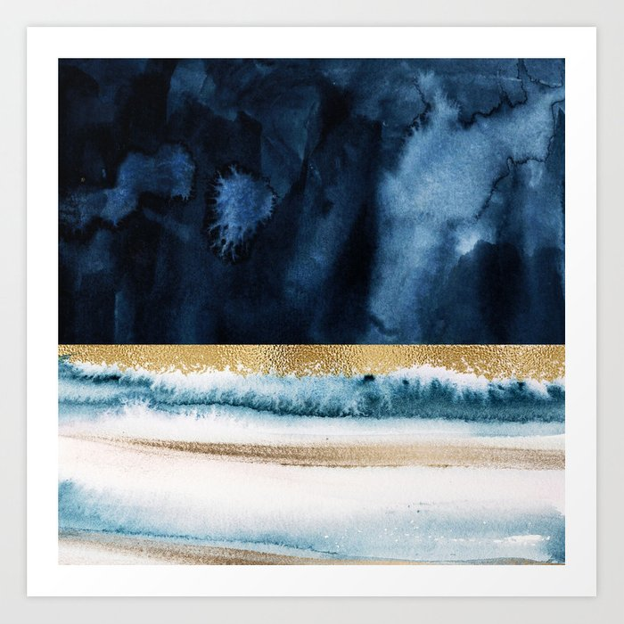Navy Blue, Gold And White Abstract Watercolor Art Kunstdrucke