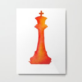 Chess King Watercolor Metal Print