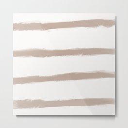 Medium Brush Strokes Horizontal  Nude on Off White Metal Print