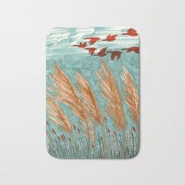 Geese Flying over Pampas Grass Bath Mat