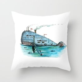 Steamboat Whale Throw Pillow