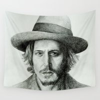 johnny depp Wall Tapestries featuring Johnny Deep by Catru