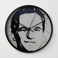 neil gaiman Wall Clocks featuring Barney Stinson (Patrick Neil Harris) by Andulino