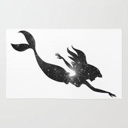 The Little Mermaid Cosmic Black and White Rug