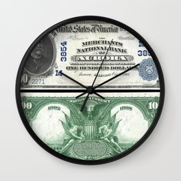 1907 U.S. Federal Reserve One-Hundred Dollar John J. Knox Aurora Bank Note Wall Clock