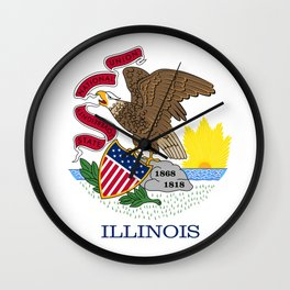 Illinois State Flag, authentic color & scale Wall Clock