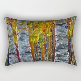 Autumn Aspen Trees with a Palette Knife Rectangular Pillow