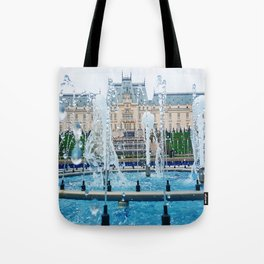 blue palace fountain Tote Bag