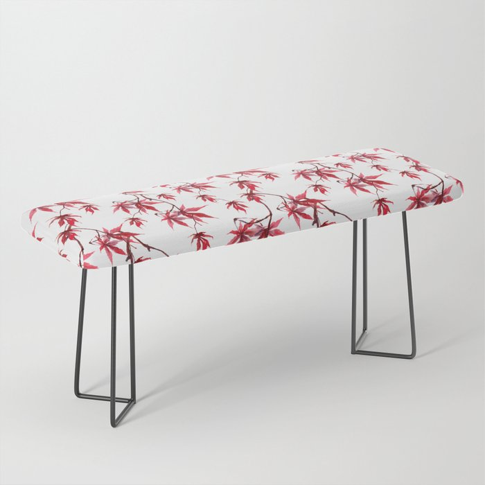 Watercolor Botanical Red Japanese Maple Leaves on Solid White Background Bench