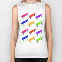 skateboard Biker Tanks featuring Skateboard Pattern by Jaime Cartwright